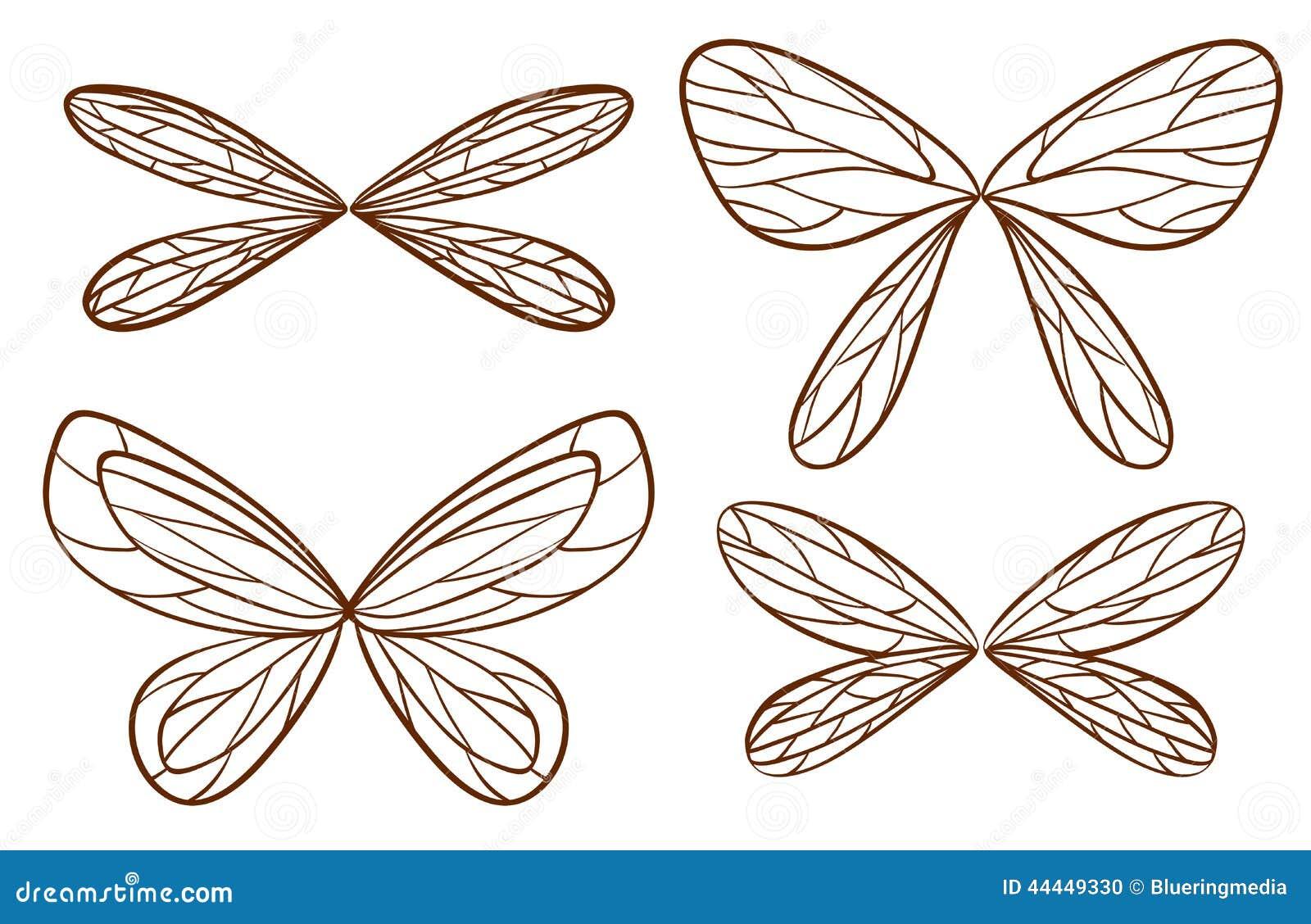 Enkelt skissar av felika vingar