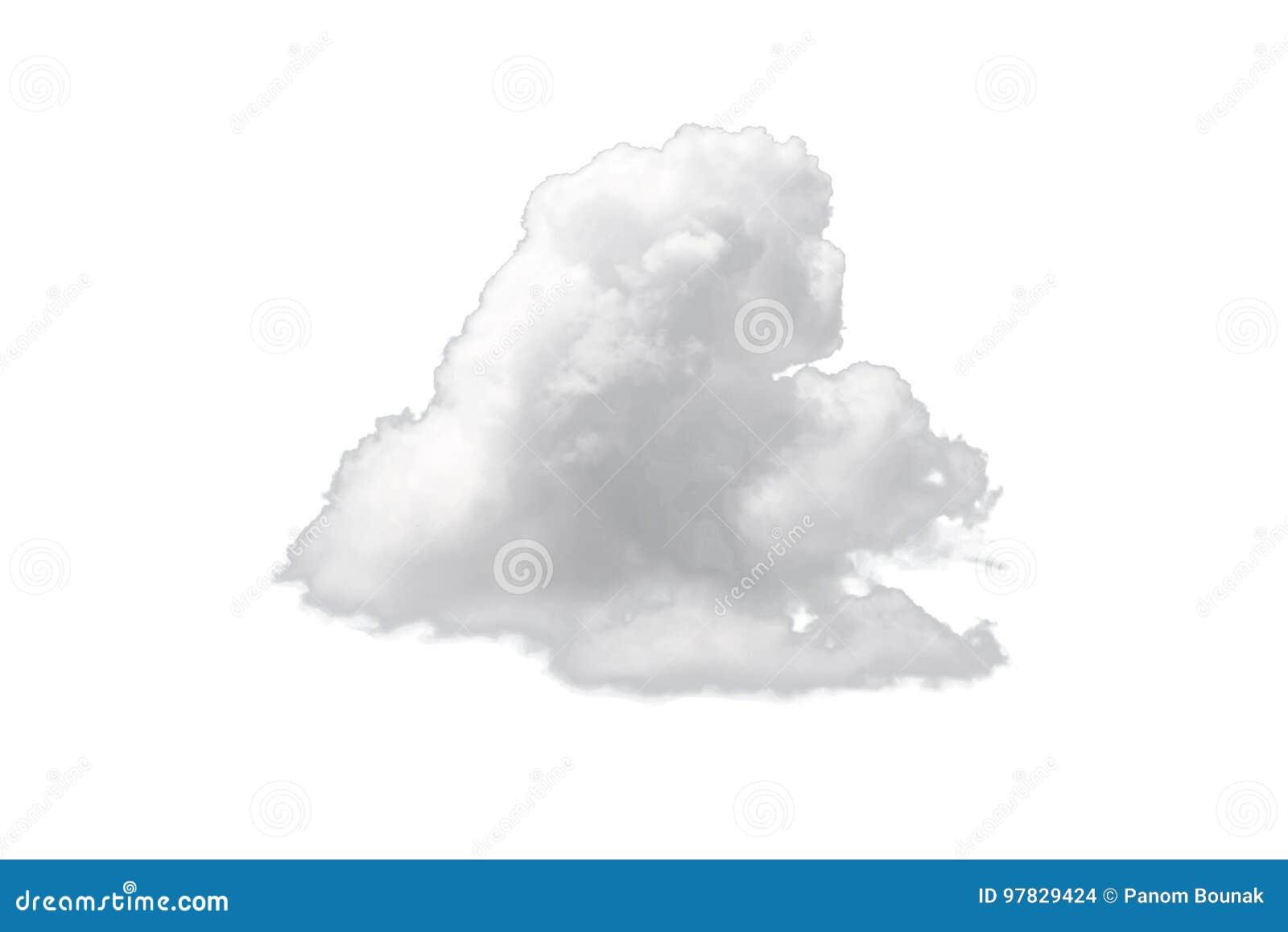 Enkelt vitt moln för natur som isoleras på vit bakgrund