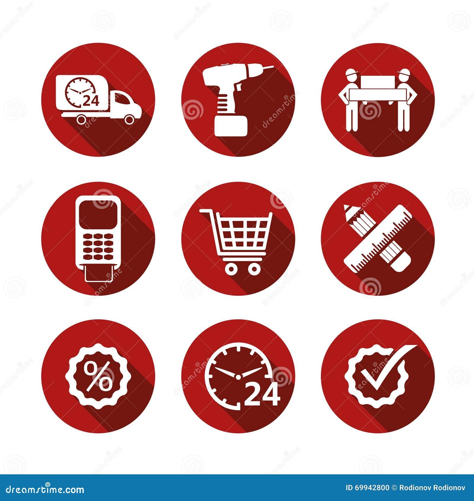Enkla shoppingsymboler för grundläggande vektor