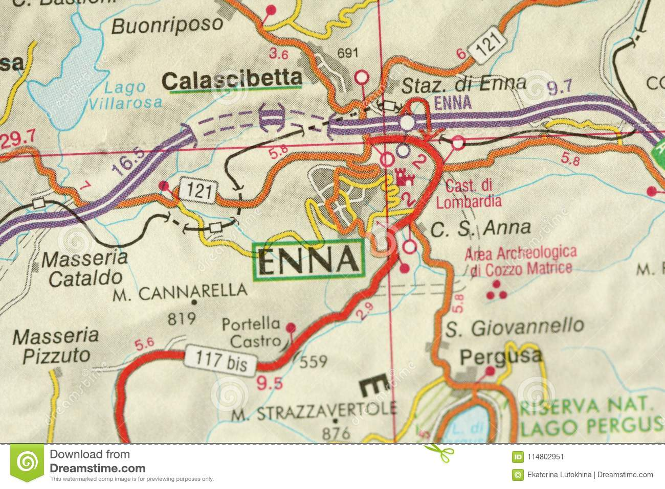 Enna. Map. The Islands Of Sicily, Italy Stock Image - Image of life ...