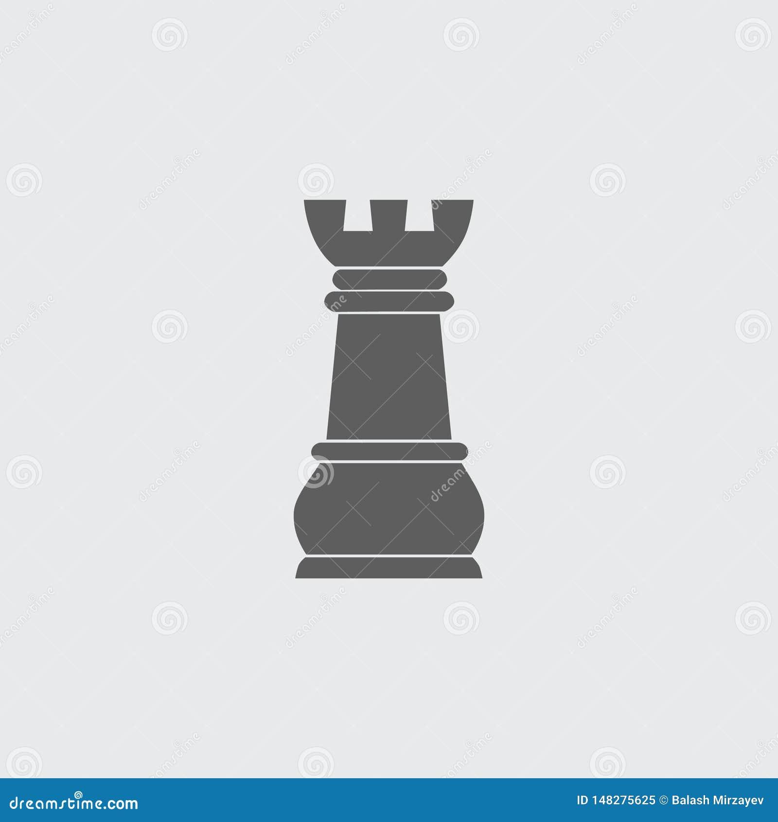 Ennegrezca la figura plana icono del ajedrez del vector del grajo