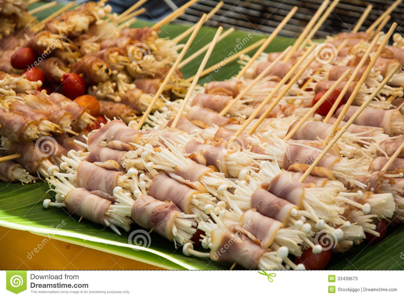 enoki mushrooms wrapped with pork bacon  prepared for barbeque clipart with transparent background barbeque clipart transparent