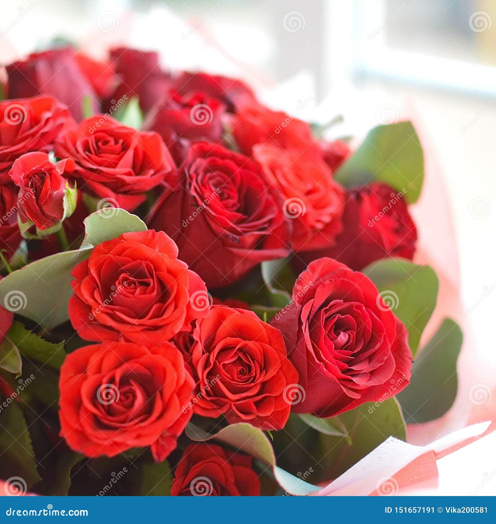 Enorm bukett av röda rosor