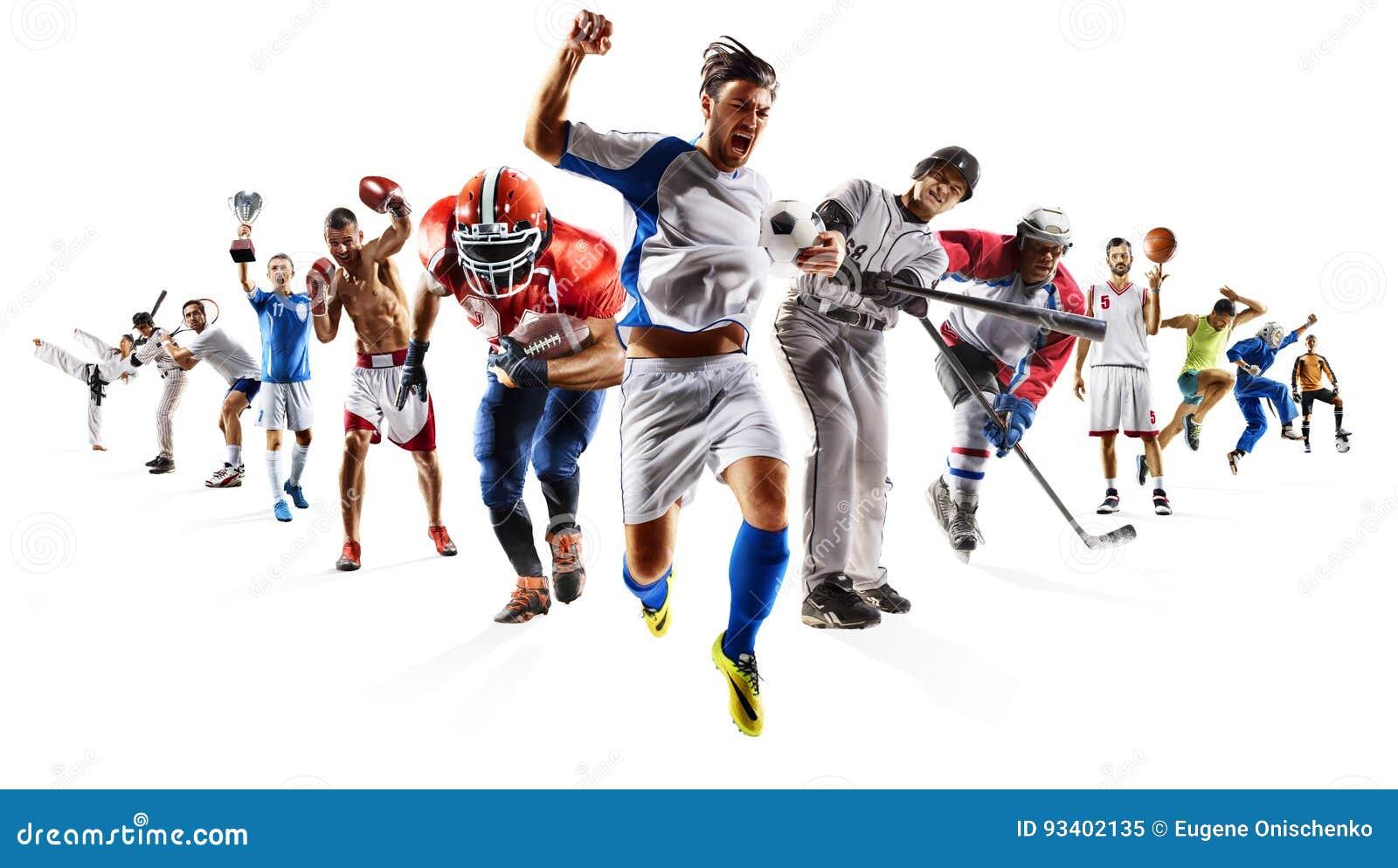 Enormer multi Sportcollagenfußballbasketballfußball-Hockeybaseball, der usw. einpackt