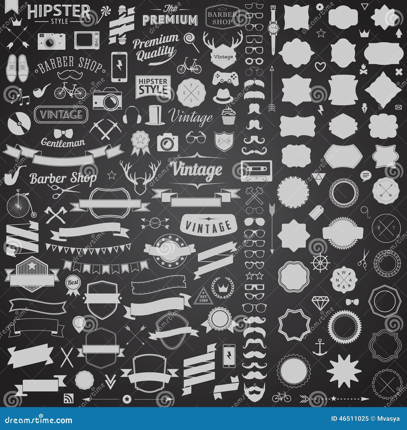 Enormer Satz der Weinlese redete Designhippie-Ikonen an Vector Zeichen und Symbolschablonen für Ihr Design