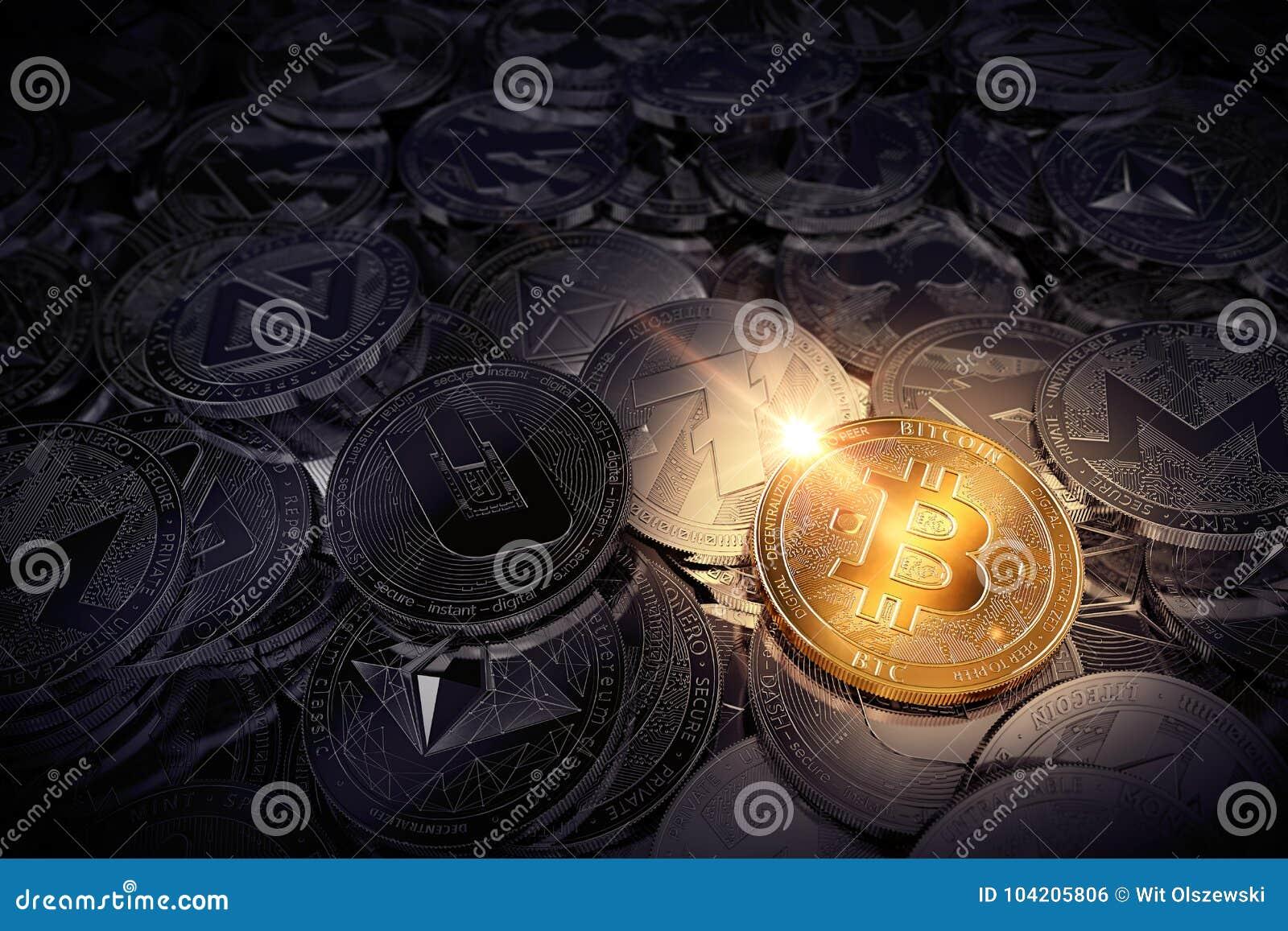 Enormer Stapel körperliche cryptocurrencies mit Bitcoin auf der Front als dem Führer des neuen virtuellen Geldes