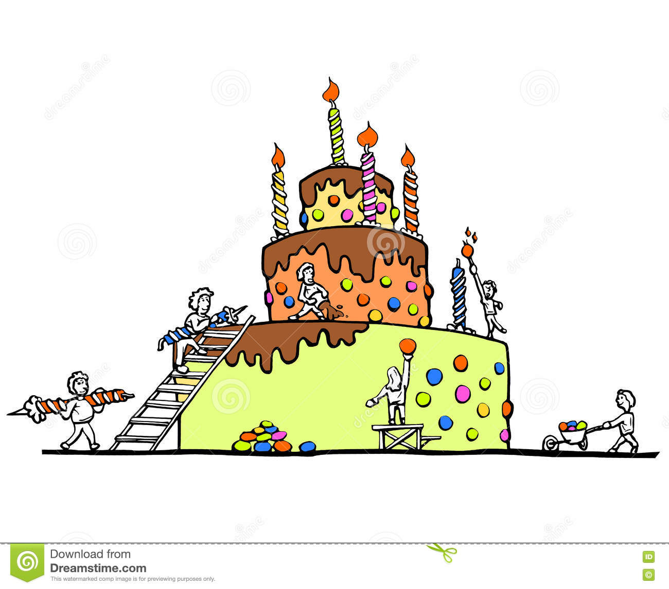 Superb Enormous Birthday Cake White Background Stock Illustration Funny Birthday Cards Online Alyptdamsfinfo