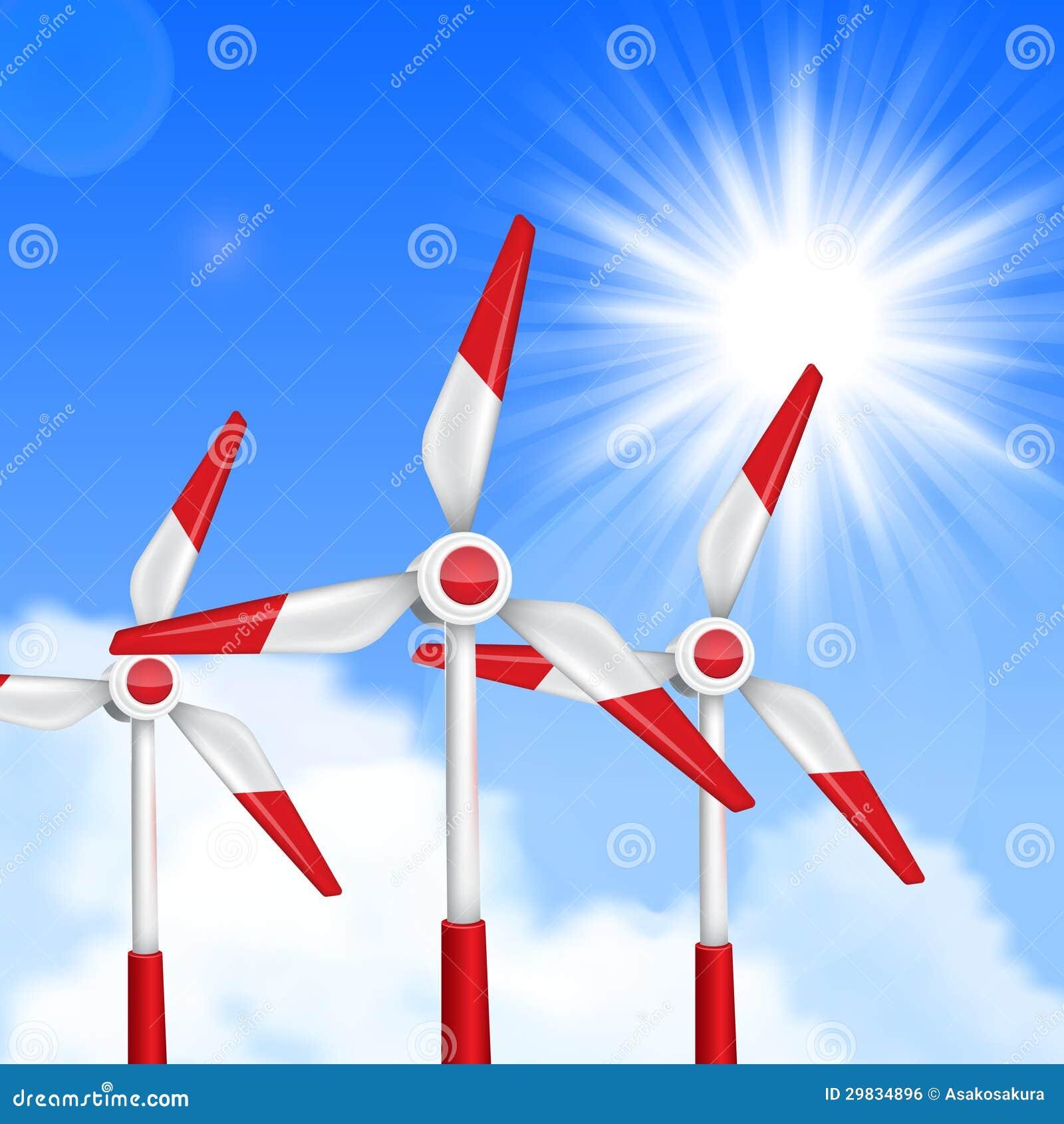 Enrole os geradores conduzidos, turbinas sobre o céu azul