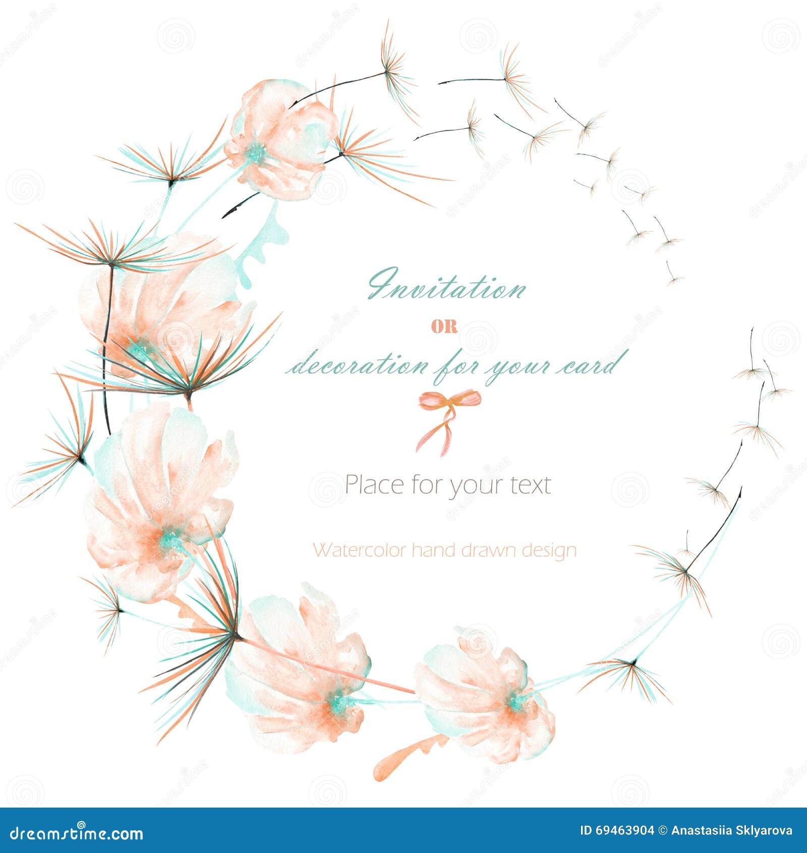 Enrruelle con las flores del aire del rosa y de la menta de la acuarela y los fuzzies del diente de león, casandose diseño, la ta