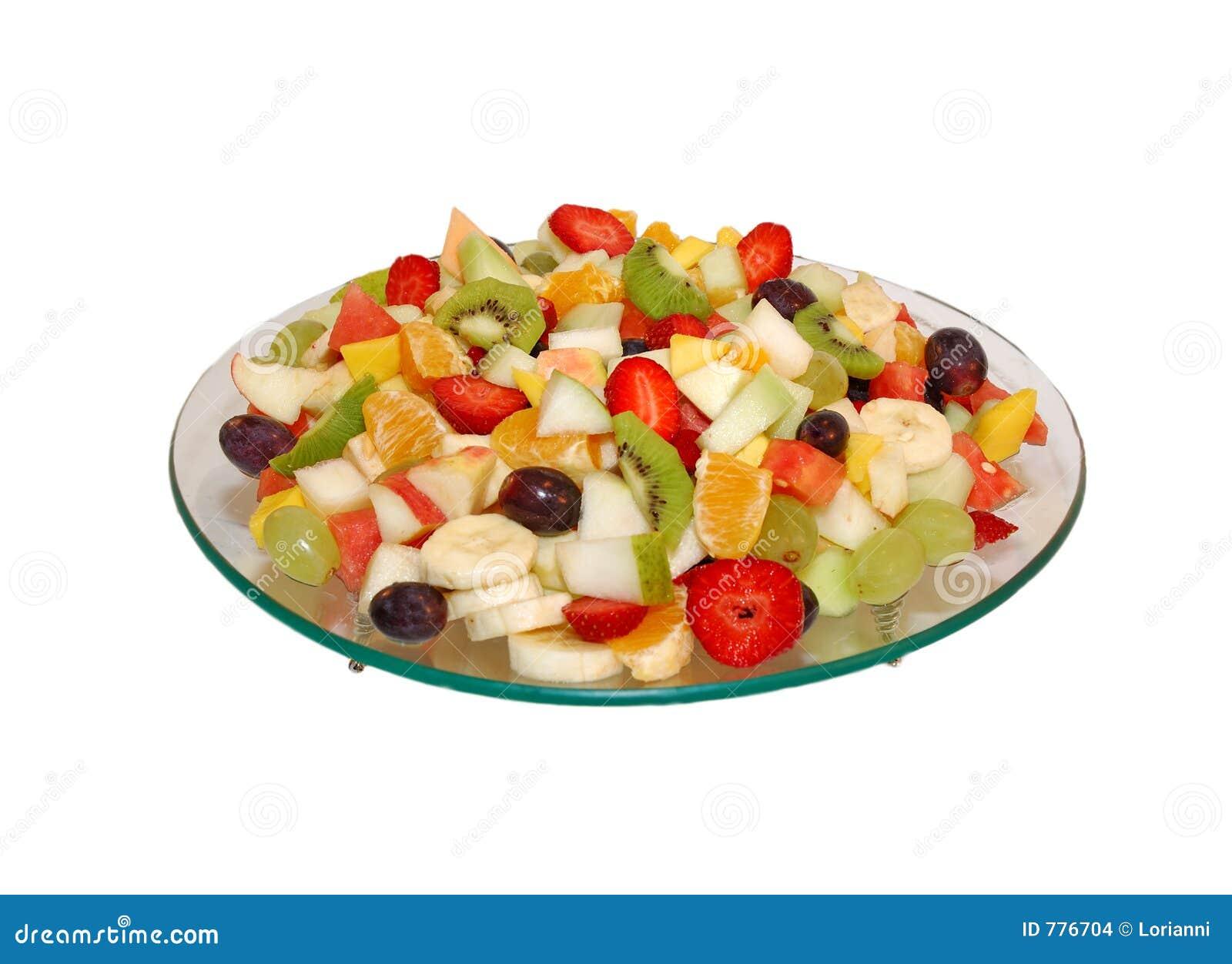 Ensalada de fruta en la placa de cristal aislado en el for Frutas de cristal