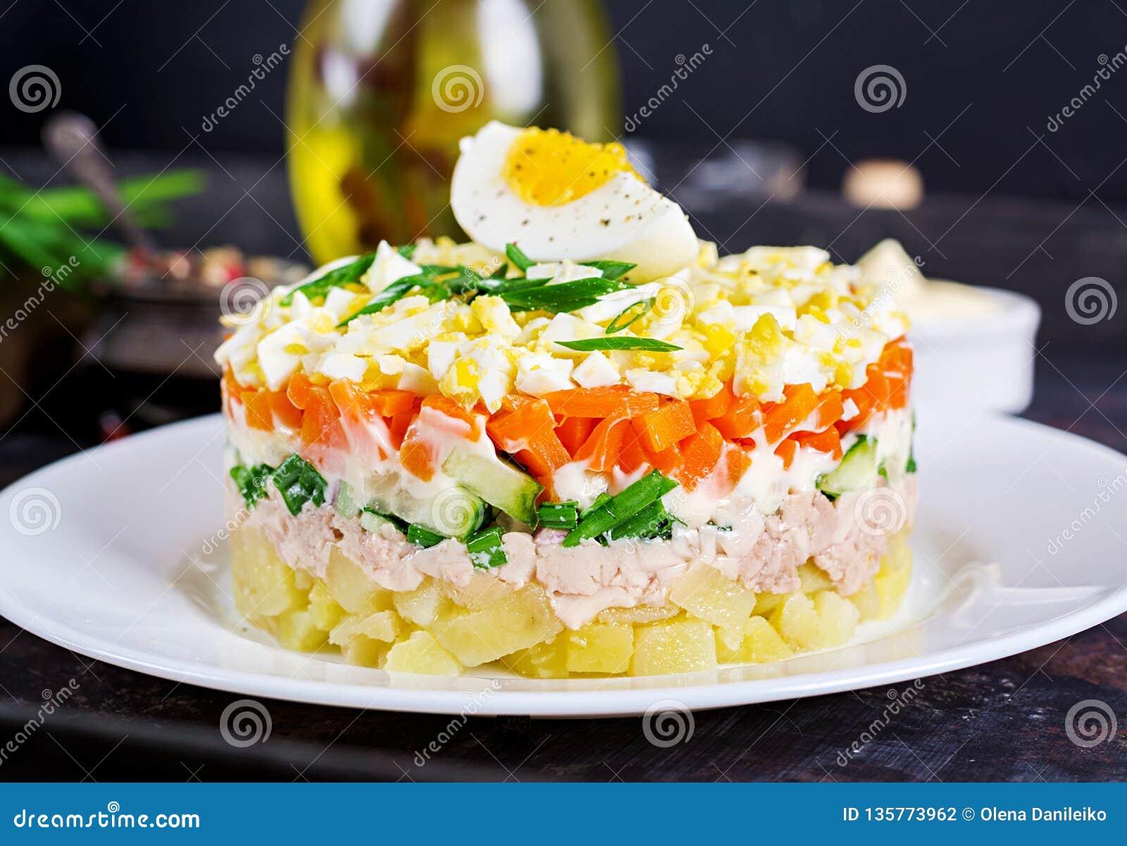 Ensalada del hígado de bacalao con los huevos, pepinos, patatas, cebolla verde