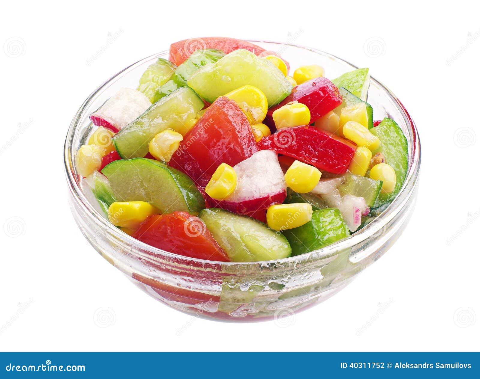 Ensalada vegetal en un bol de vidrio foto de archivo - Bol de vidrio ...