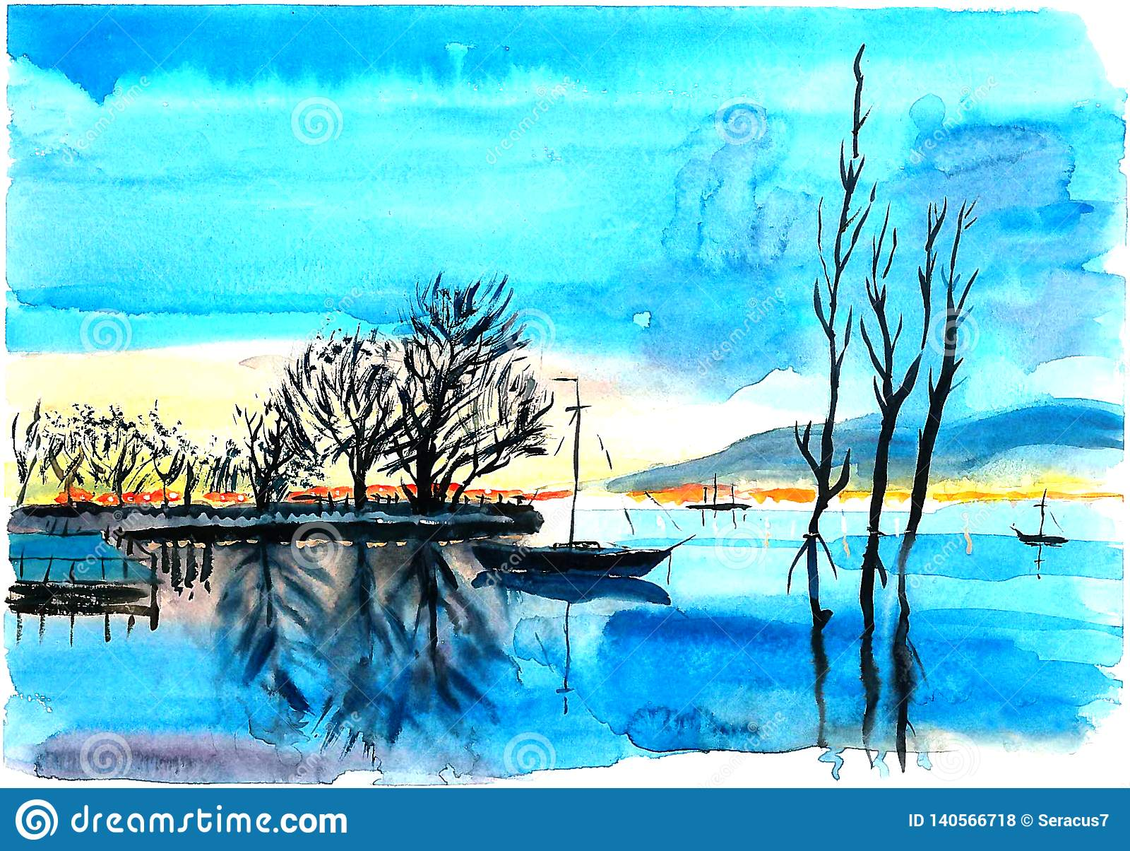 Ensam yacht på sjön