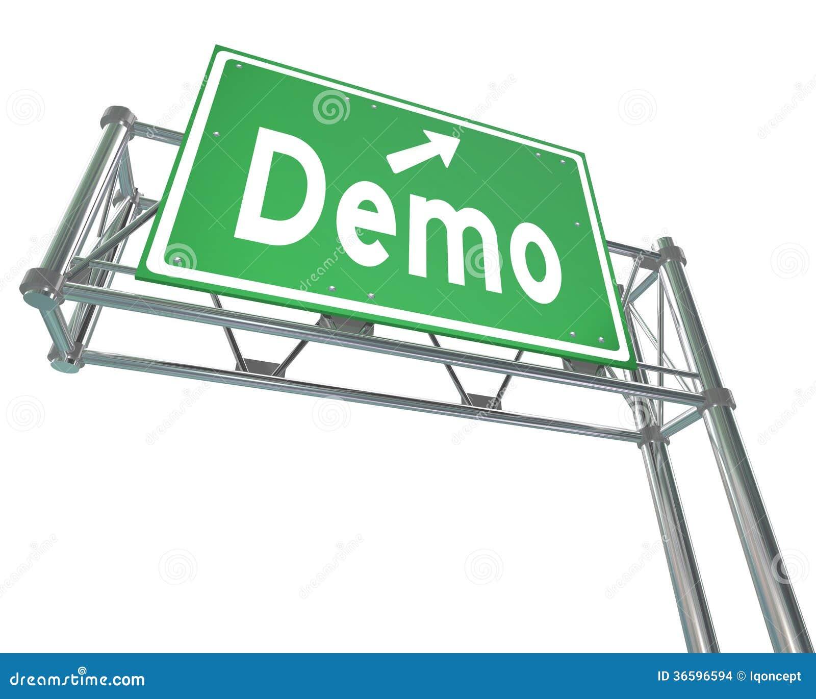 Ensayo libre de la demostración del producto de Demo Word Green Freeway Sign
