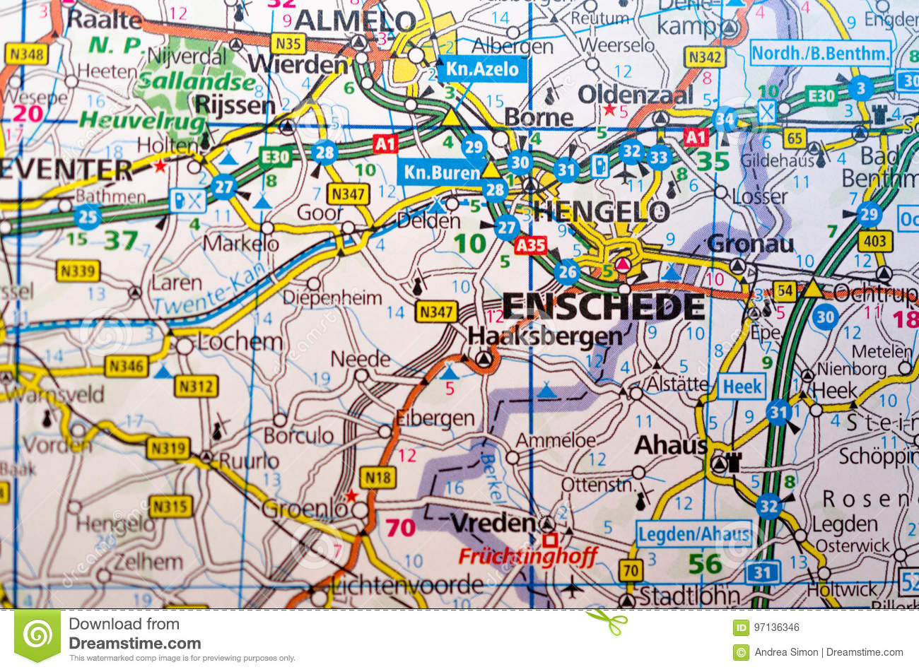 Enschede On Map Stock Photo Image Of Positioning Aerial 97136346