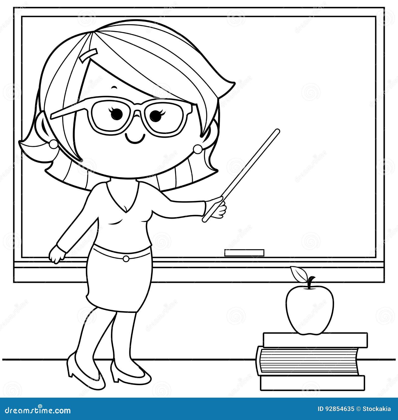 Enseñanza Del Profesor En La Página Del Libro De Colorear ...