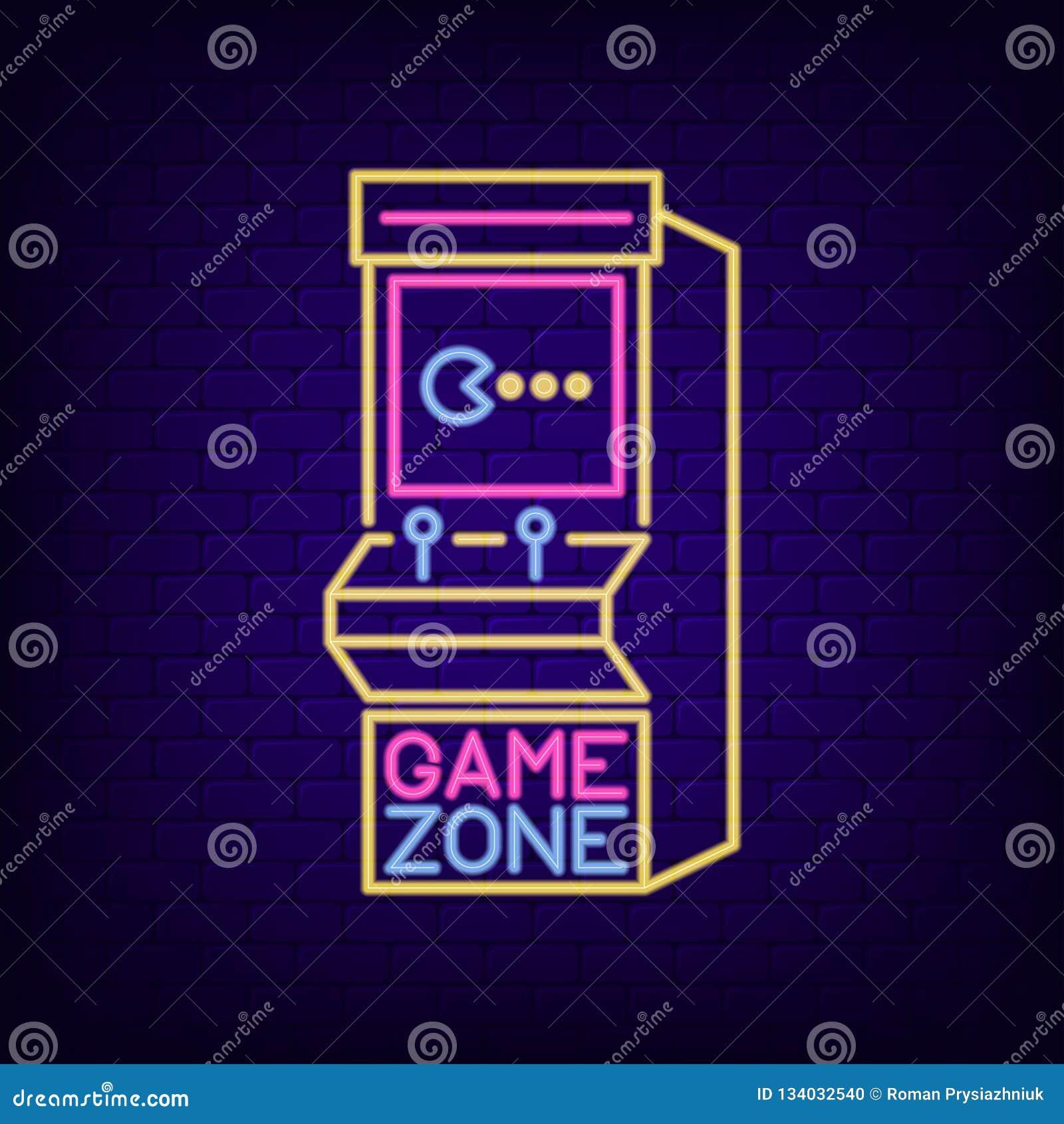 Enseigne au néon de machine de jeu électronique Enseigne de lumière de nuit de zone de jeu avec la rétro machine à sous Bannière