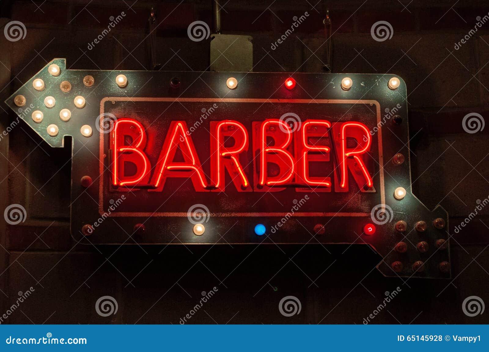 Enseigne au n on de petit morceau de salon de coiffure sur for Coiffeur salon nyc