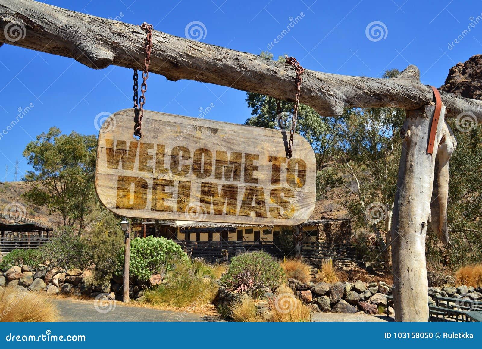 Enseigne en bois de vintage avec l accueil des textes à Delmas accrochant sur une branche