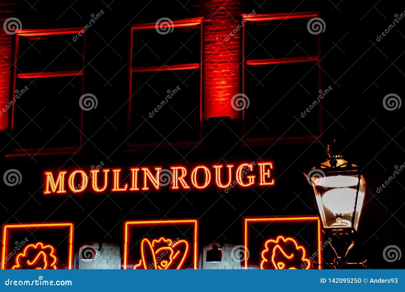 Enseignes au néon du Moulin rouge à Amsterdam, Pays-Bas