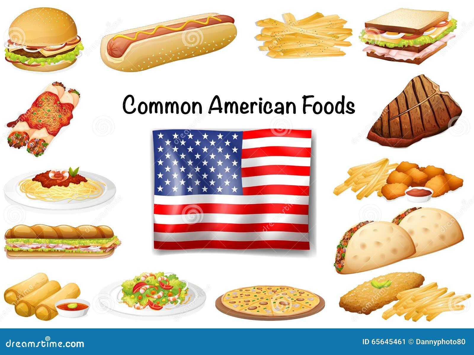 Ensemble américain commun différent de nourriture