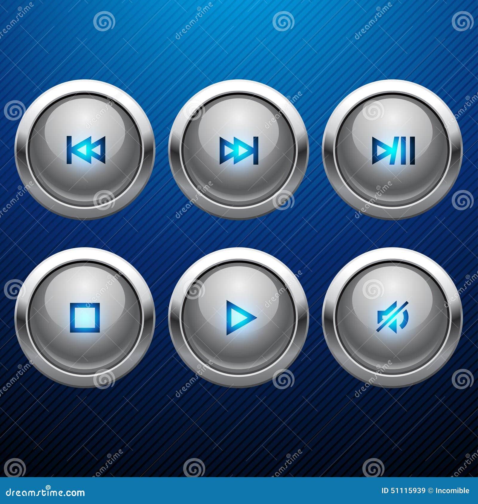 Ensemble brillant d icône de Web de contrôle de multimédia