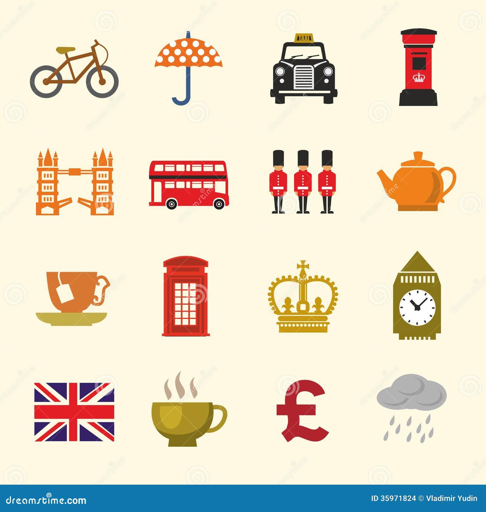 Ensemble britannique d icône