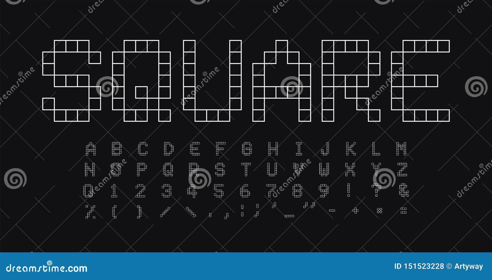 Ensemble carré de lettres et de nombres de formes Alphabet latin de vecteur linéaire simple géométrique de style Police pour des