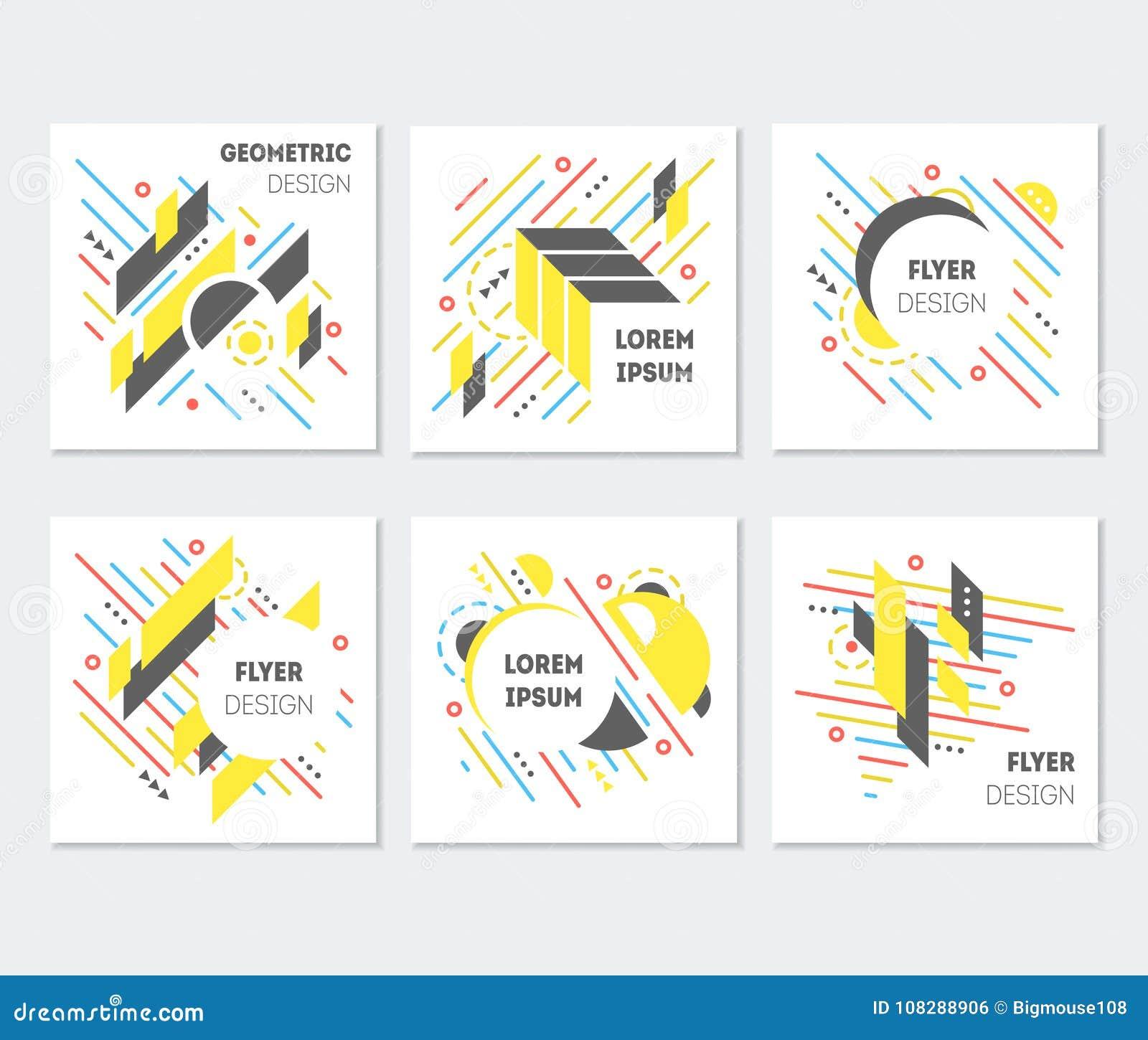 Ensemble coloré abstrait géométrique de conception d affiche d insectes Vecteur