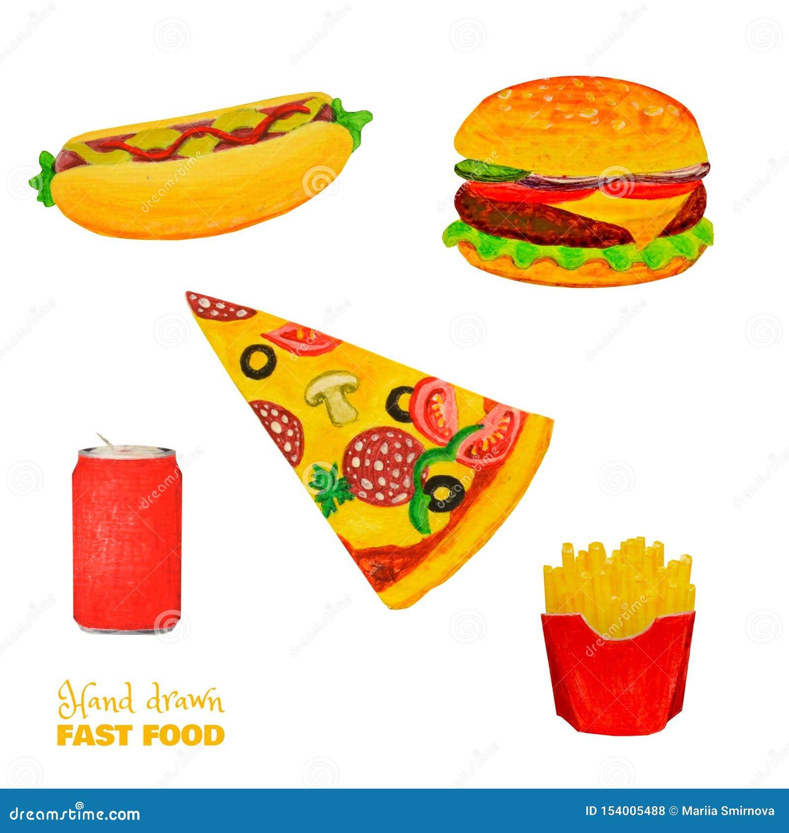 Ensemble coloré d aliments de préparation rapide Repas prêt d isolement sur le blanc Hamburger, sandwich, tranche de pizza, pomme