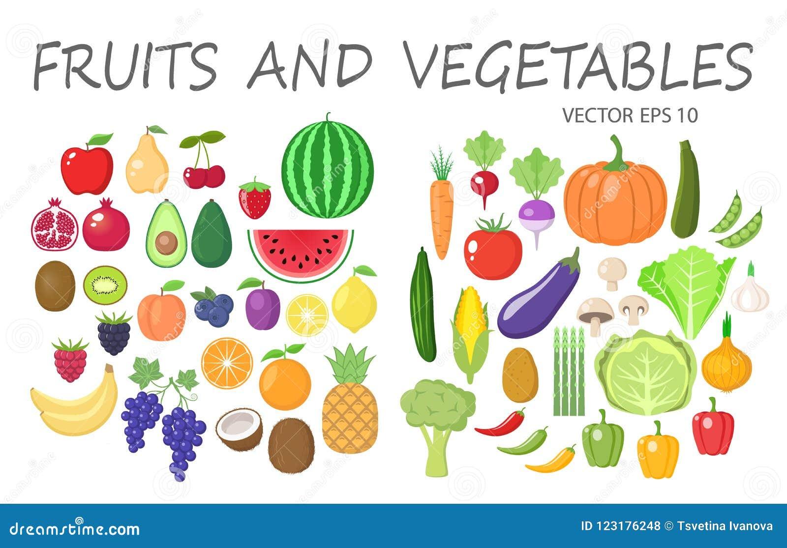 Ensemble coloré de clipart de fruits et légumes Collection colorée par fruits et légumes de bande dessinée