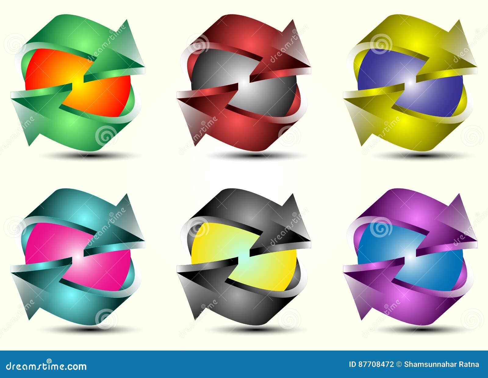 Ensemble coloré de flèche de Logotype du vecteur 3d
