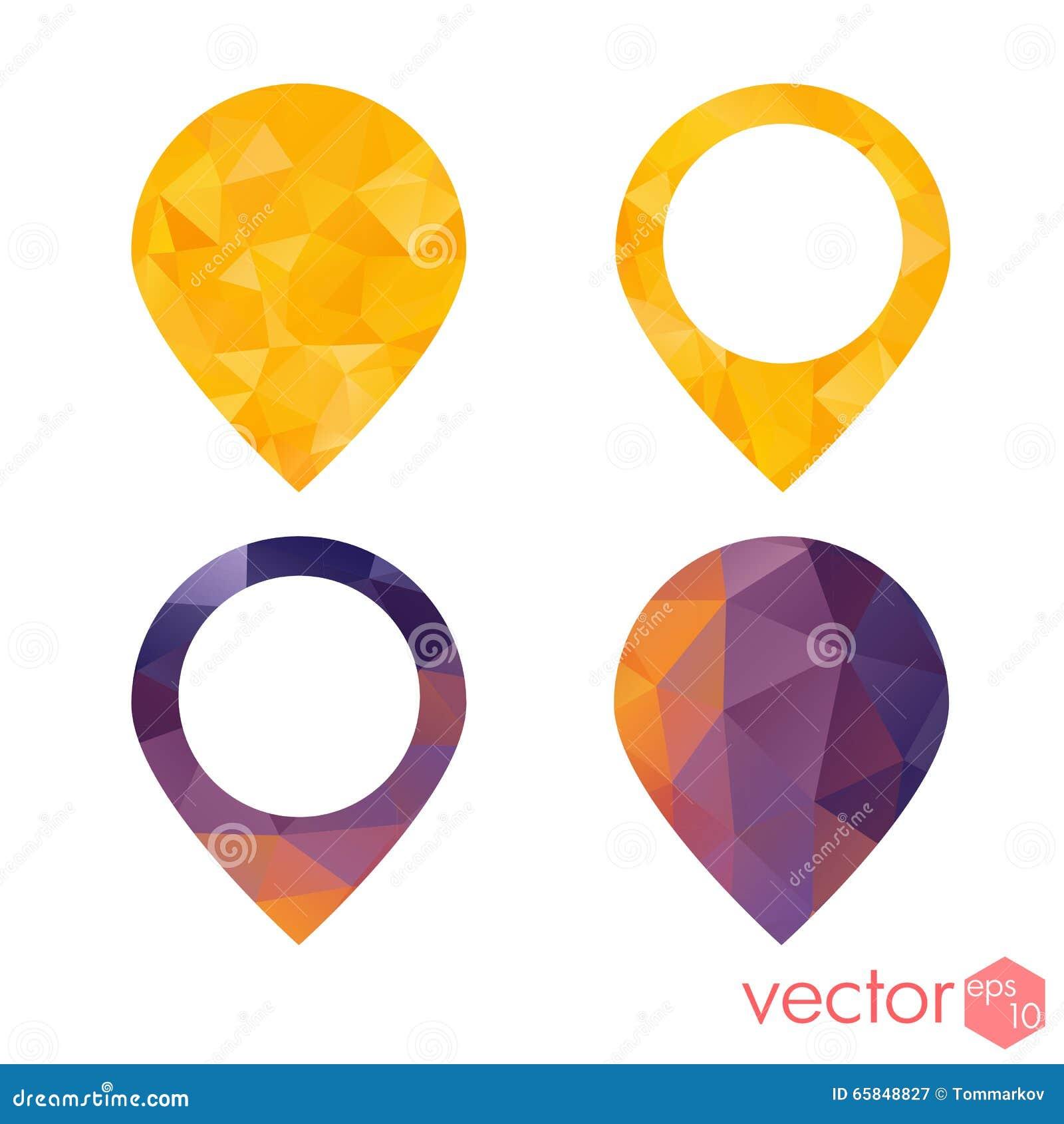 Ensemble coloré de style de polygone de navigation de point d endroit d icônes