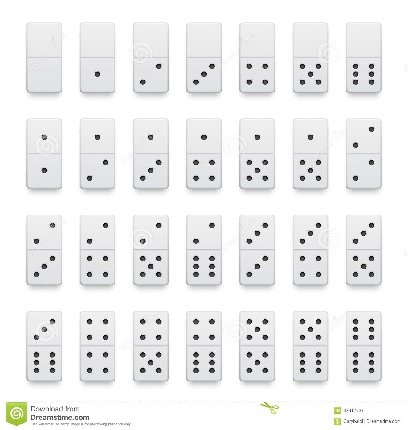ensemble complet des morceaux blancs r alistes de domino illustration stock illustration du. Black Bedroom Furniture Sets. Home Design Ideas