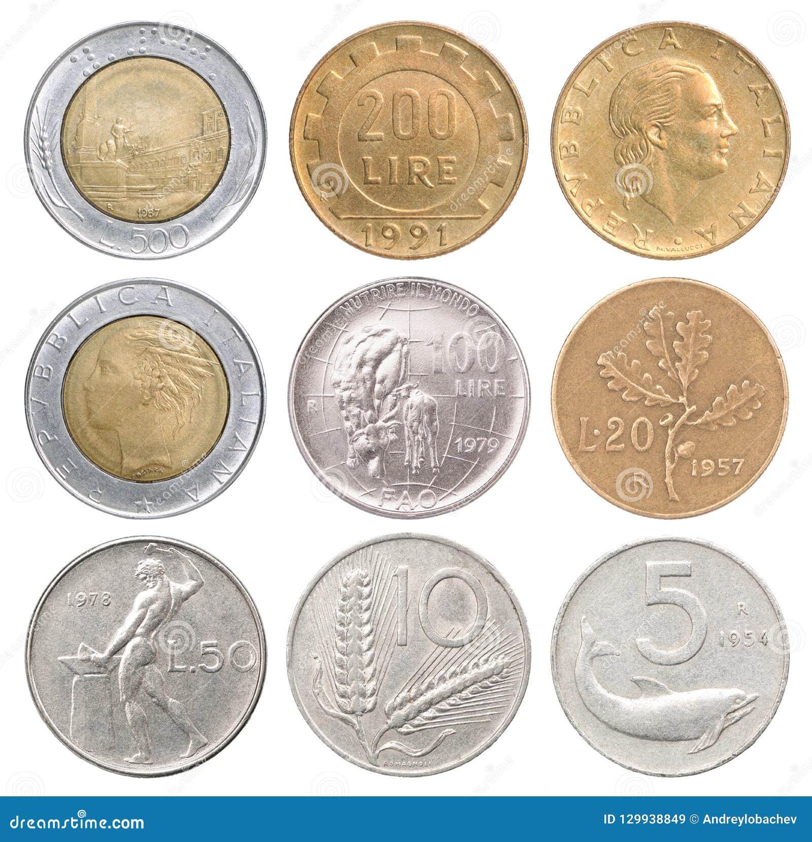 Ensemble complet des pièces de monnaie italiennes