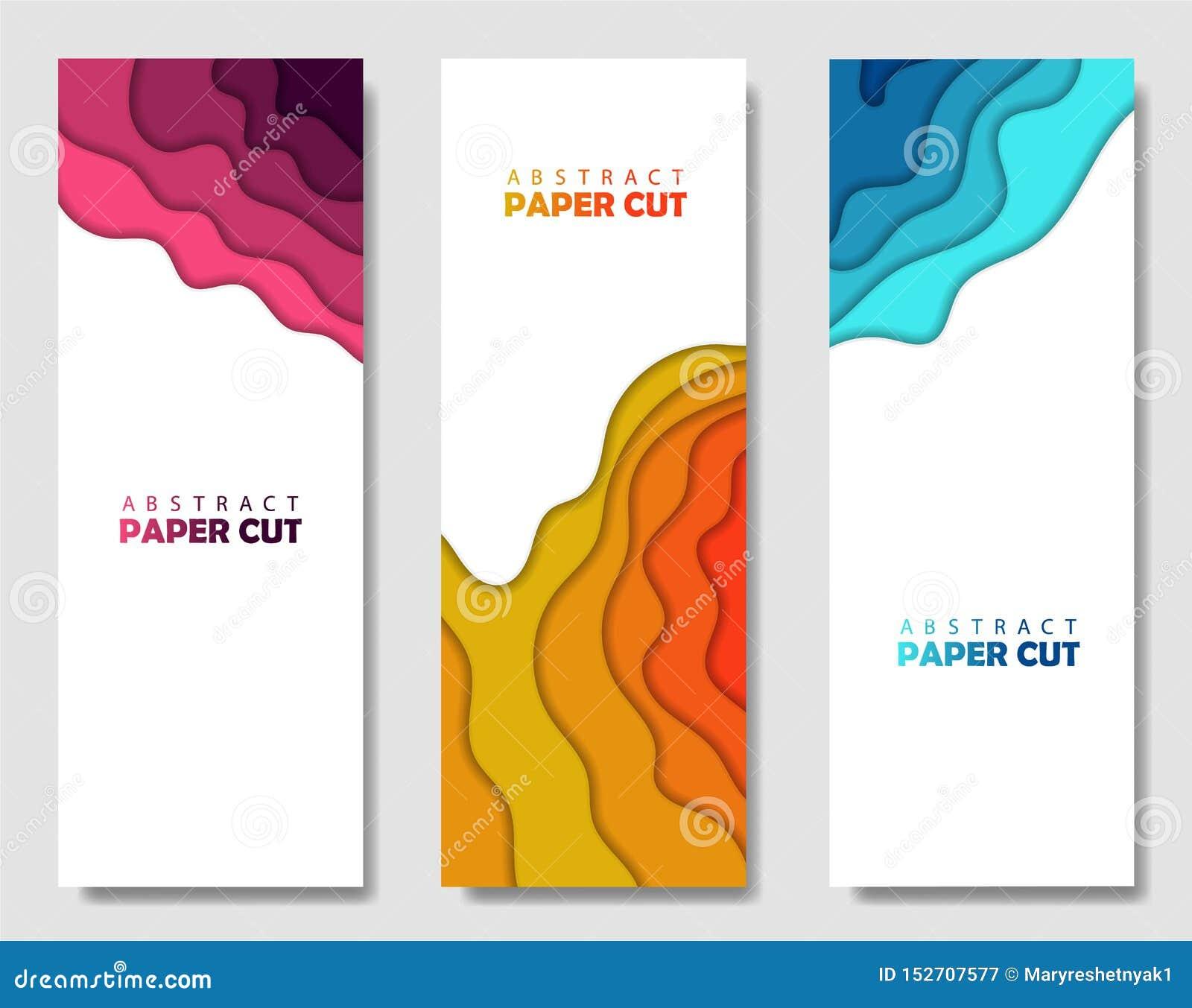 Ensemble créatif moderne d affiches avec un fond 3d abstrait et des formes de coupe de papier Disposition de conception, calibre