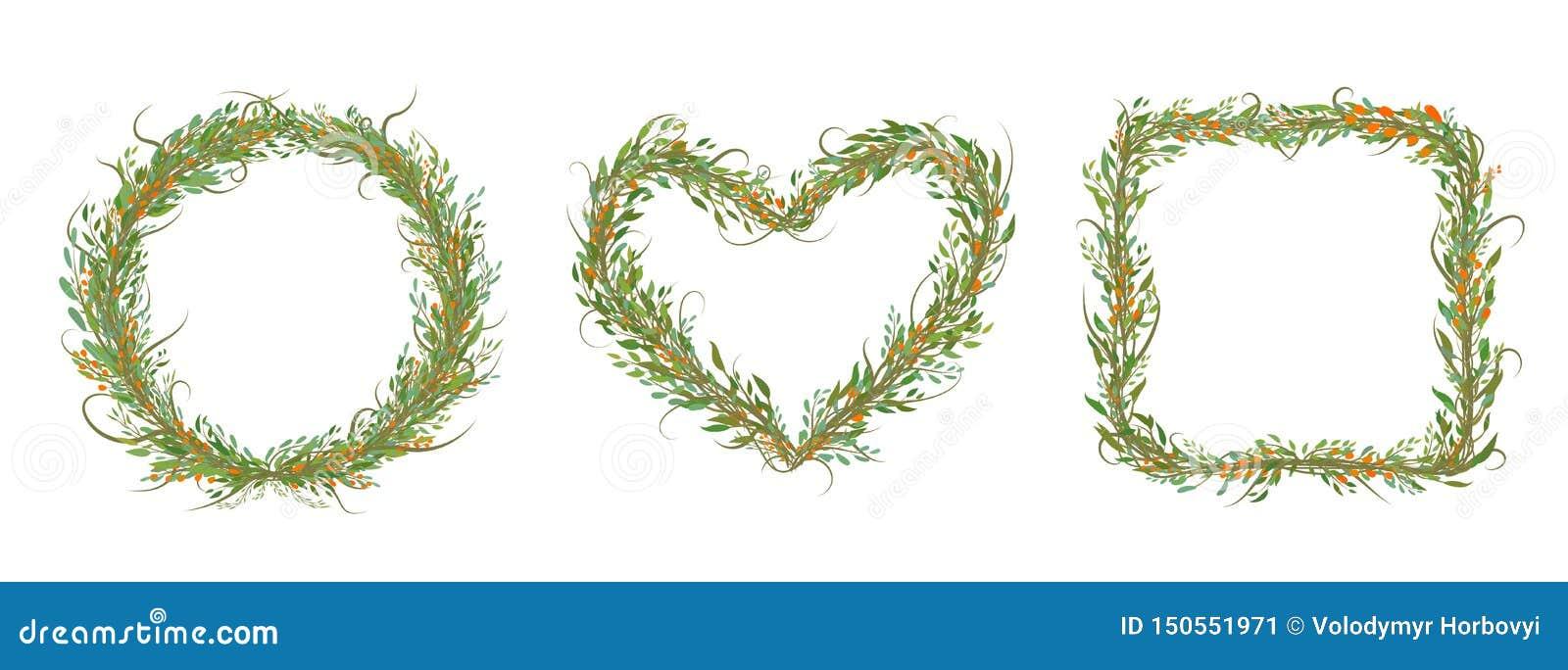 Ensemble décoratif de cercle, de coeur, de place avec des bracnhes et de feuilles