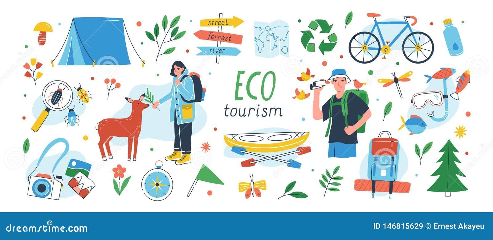 Ensemble d éco-tourisme Collection d éléments écologiques de conception de tourisme d isolement sur le fond blanc - mâle et femel