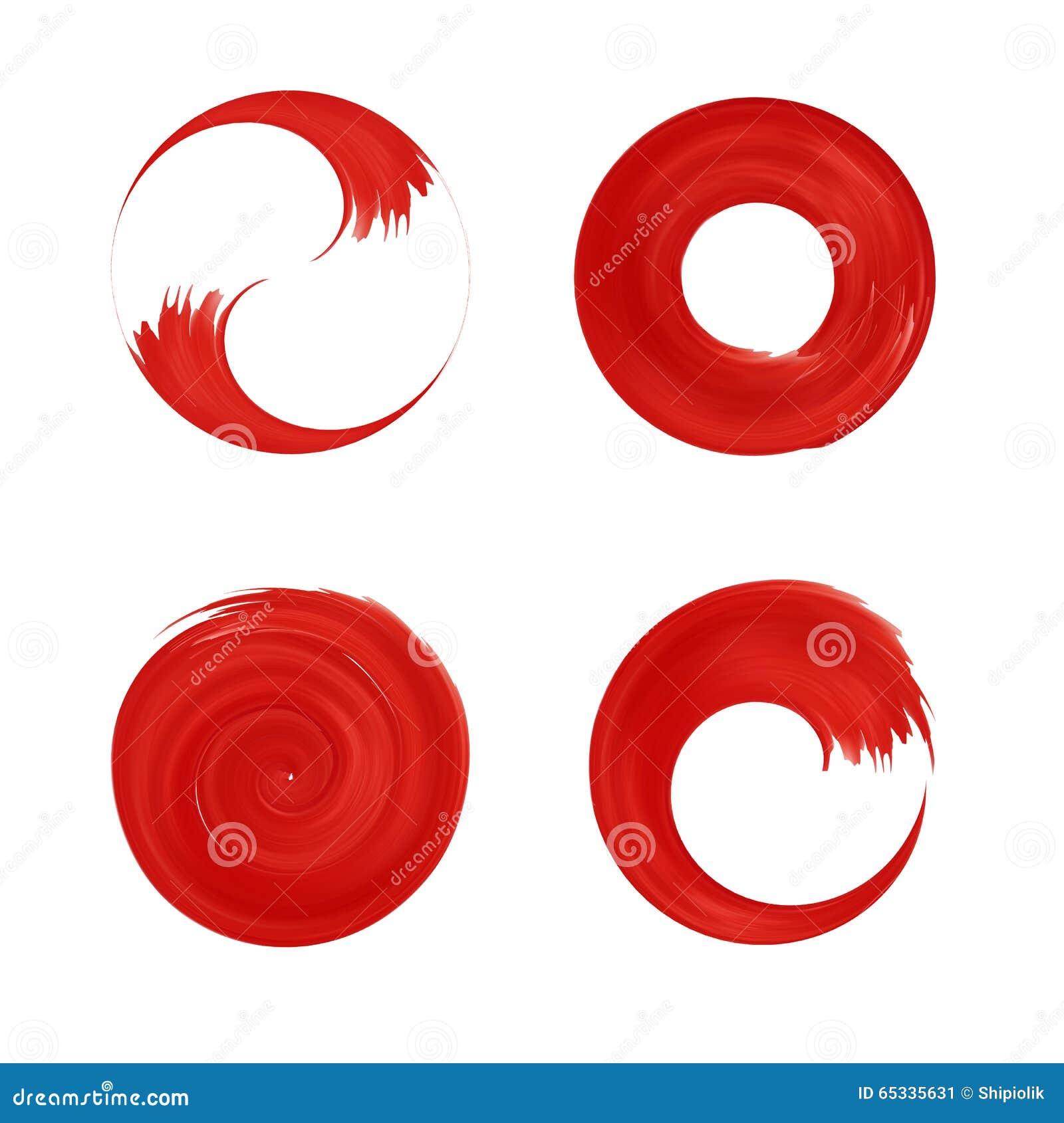 Ensemble d élément rond rouge pour la conception