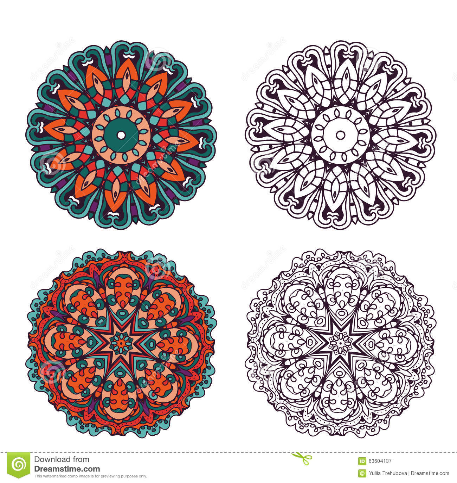 Ensemble d éléments abstraits de conception Mandalas ronds dans le vecteur