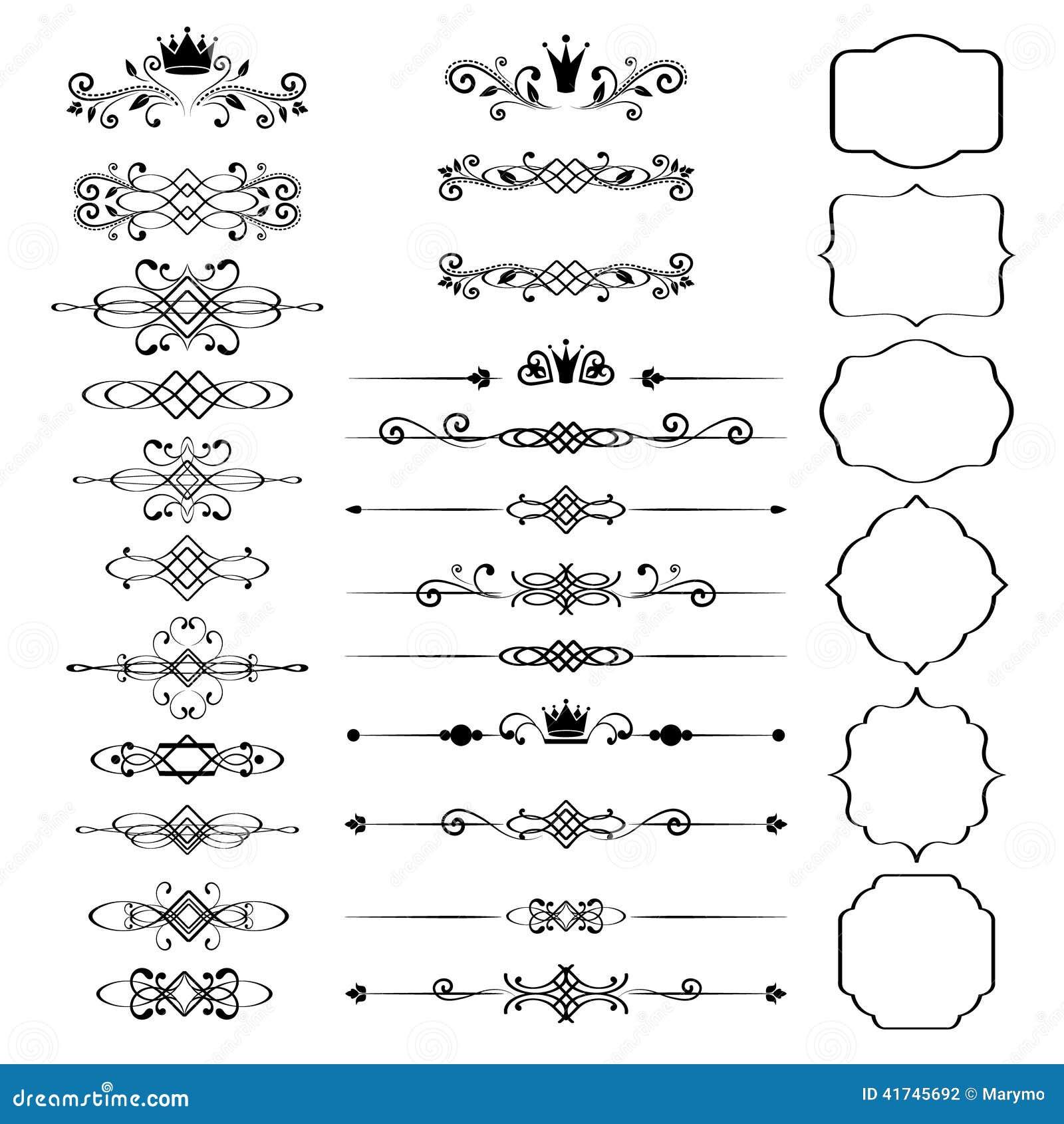 Ensemble d éléments de conception florale, cadres ornementaux de vintage avec des couronnes