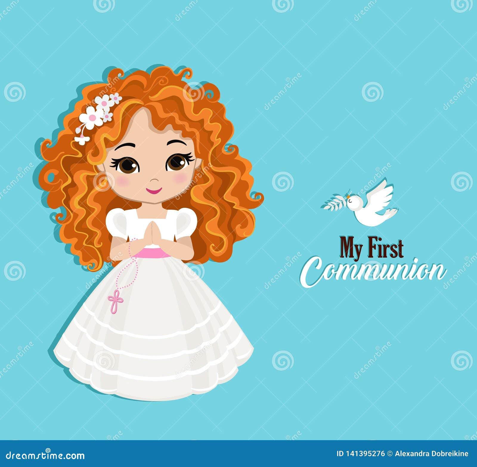 Ensemble d éléments de conception pour la première communion pour des filles