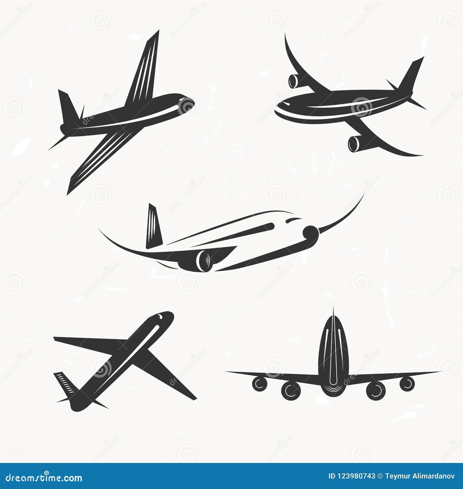 Ensemble d éléments de conception de vecteur d avion de vintage, logos, voyage AG
