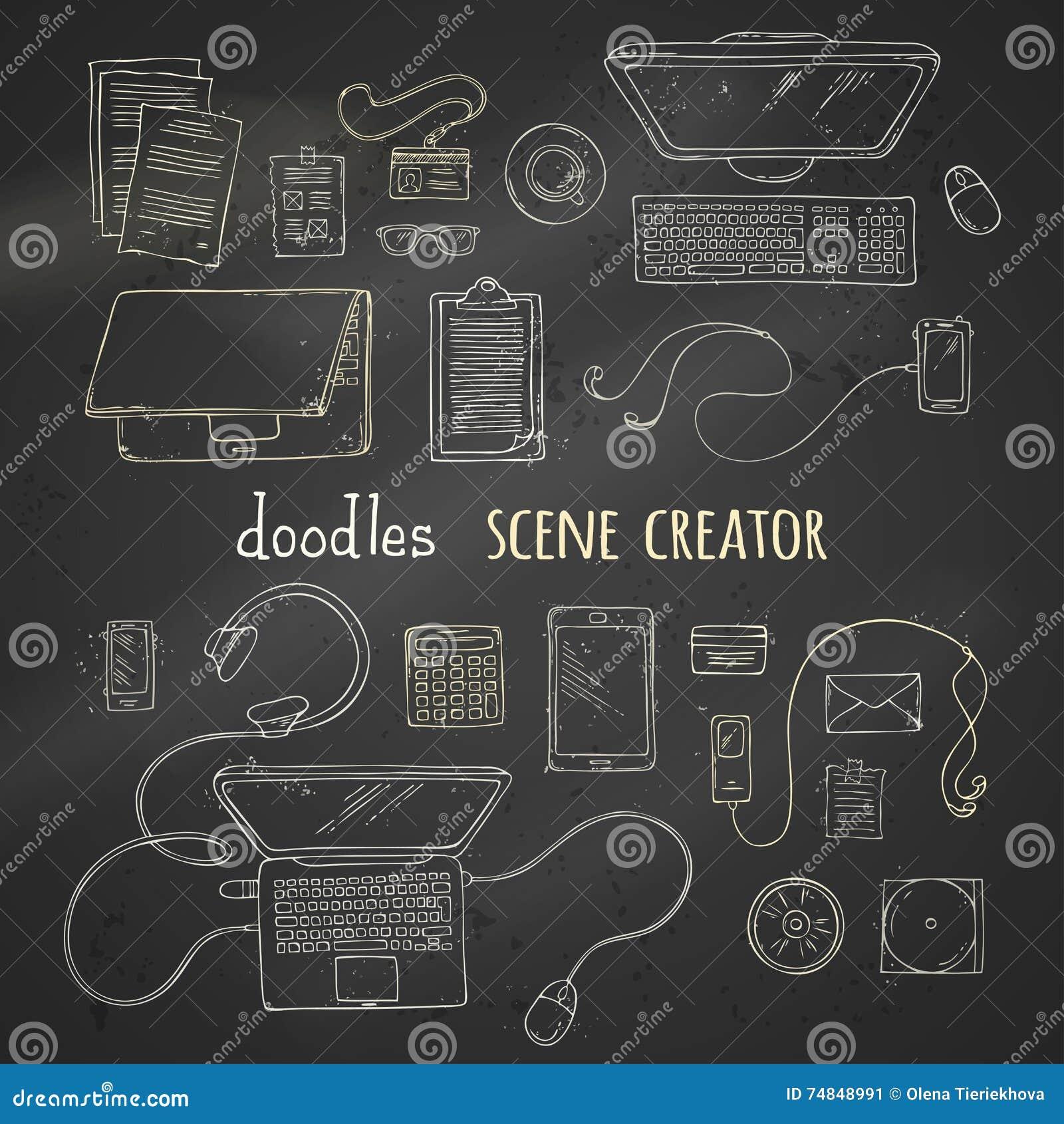 Ensemble d éléments de créateur de scène de craie sur le fond de tableau noir