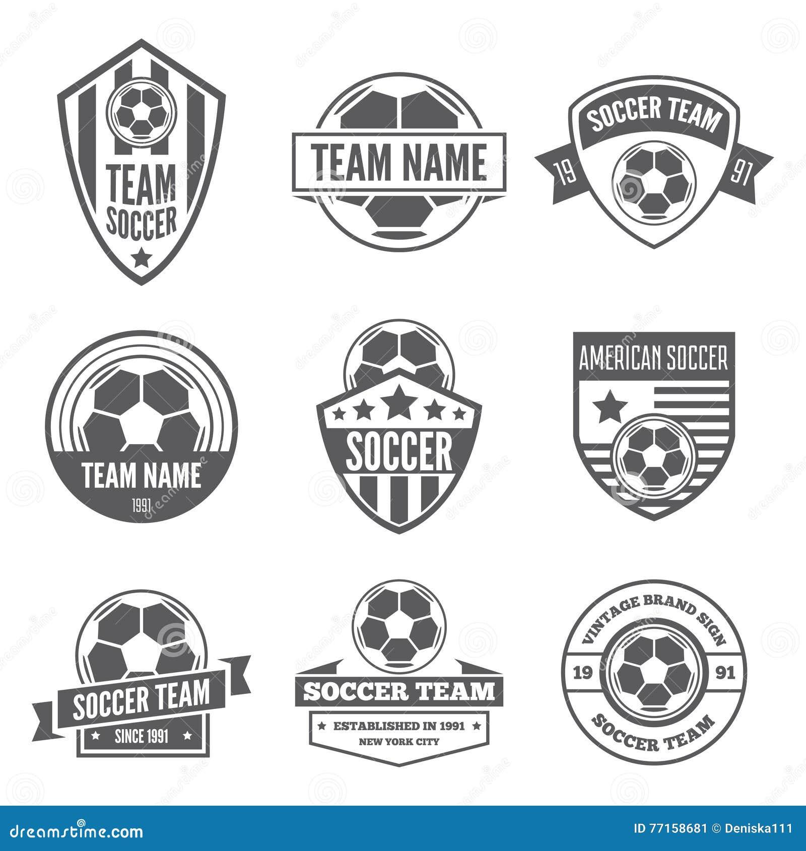 Ensemble d éléments, de labels, d insignes et de silhouettes de logotypes pour le football ou le football