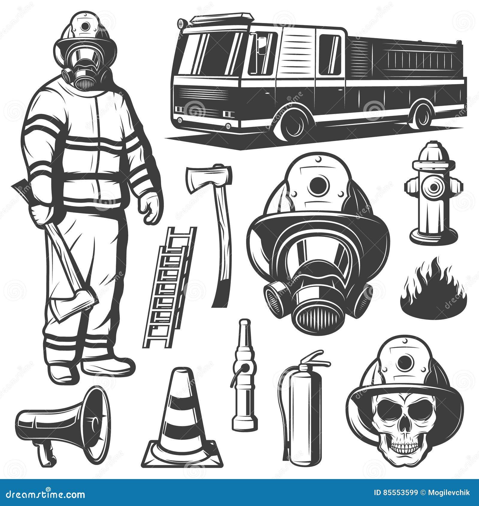 Ensemble d éléments de lutte contre l incendie de vintage