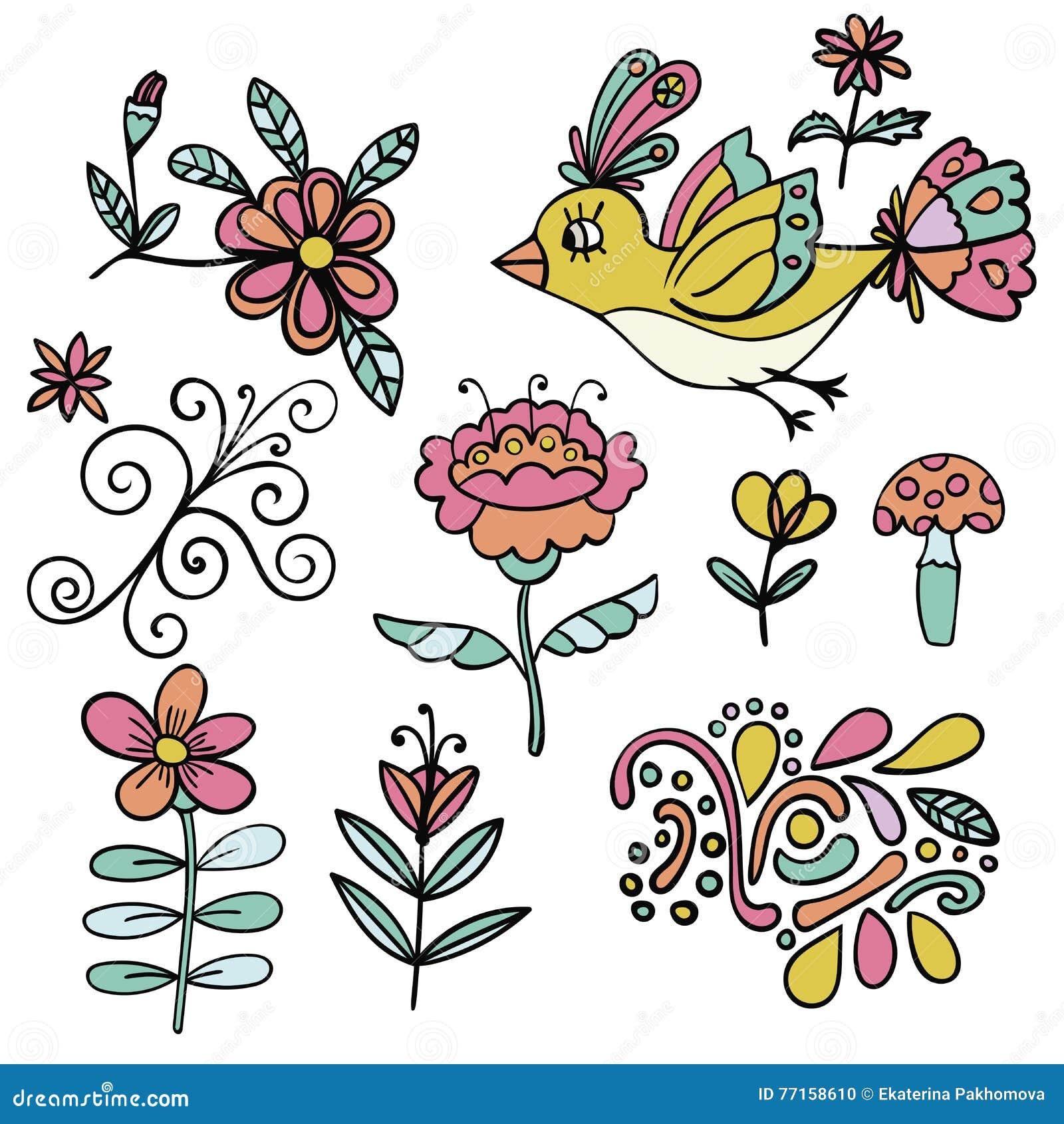 Ensemble d éléments floraux tropicaux abstraits, oiseau jaune de paradis, éléments de bande dessinée Fleurs colorées