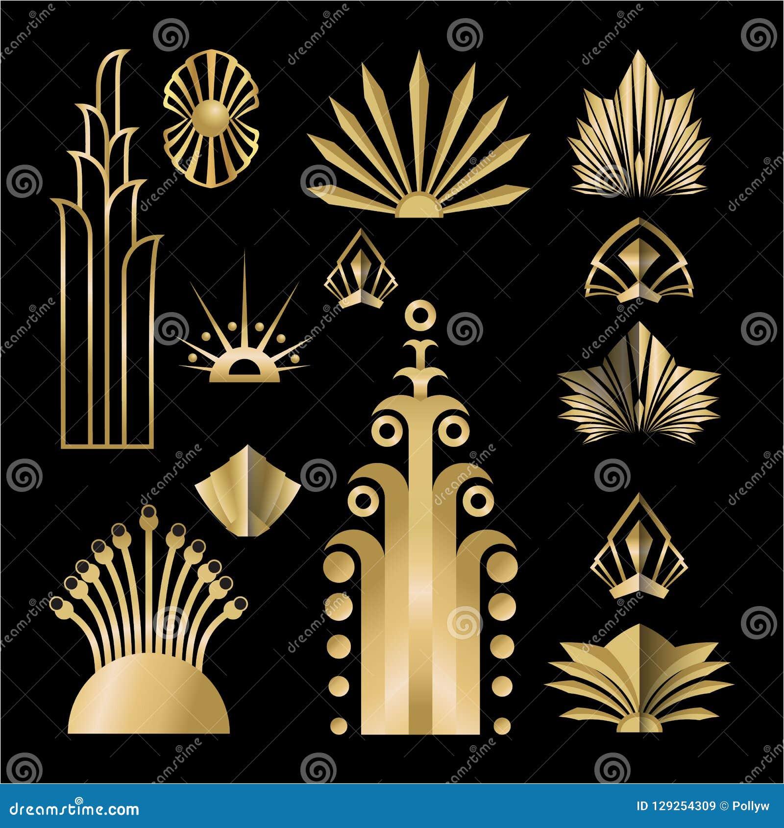 Ensemble d éléments d or-noir du calibre DIY d Art Deco