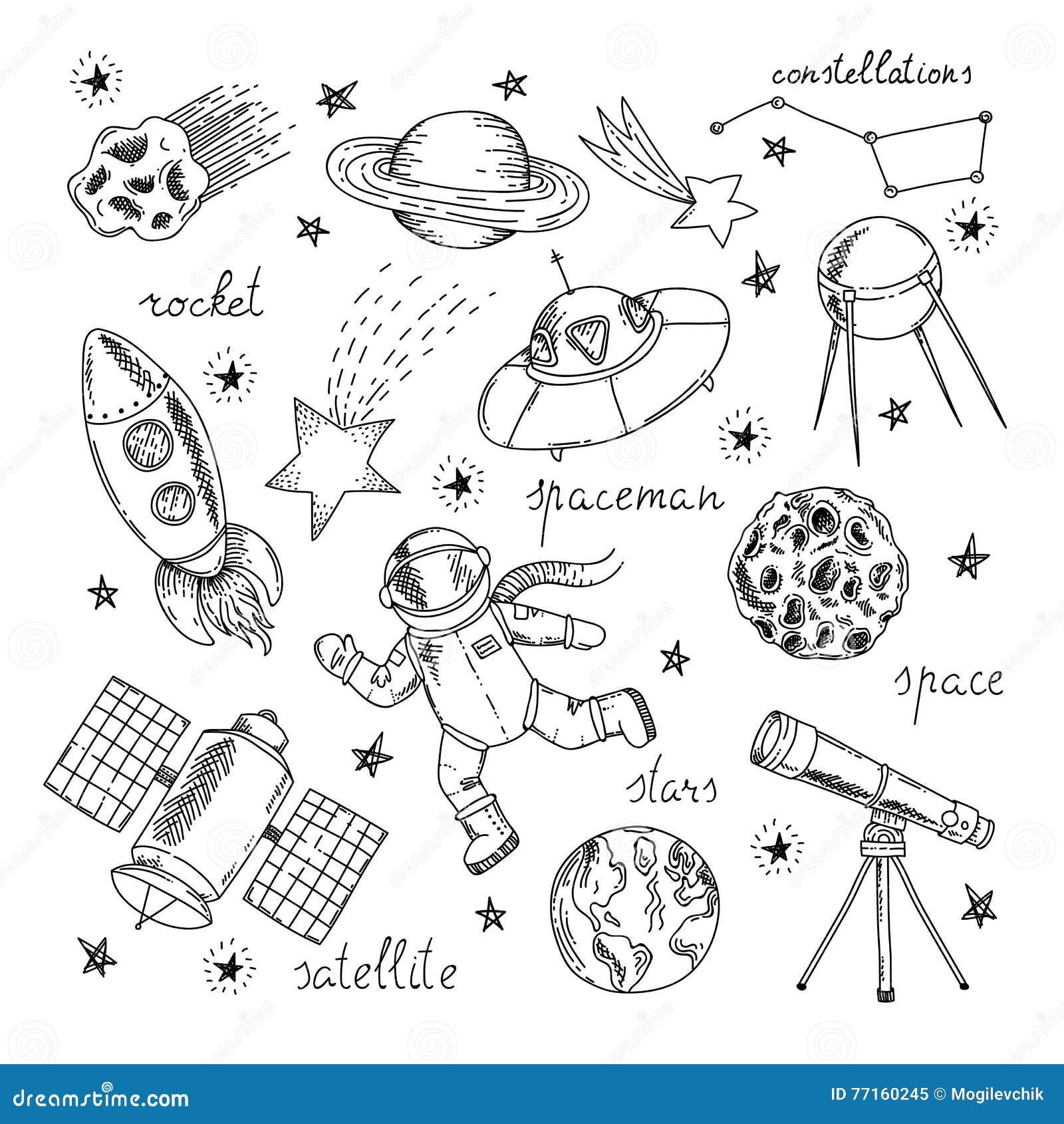 Ensemble d éléments tiré par la main de l espace