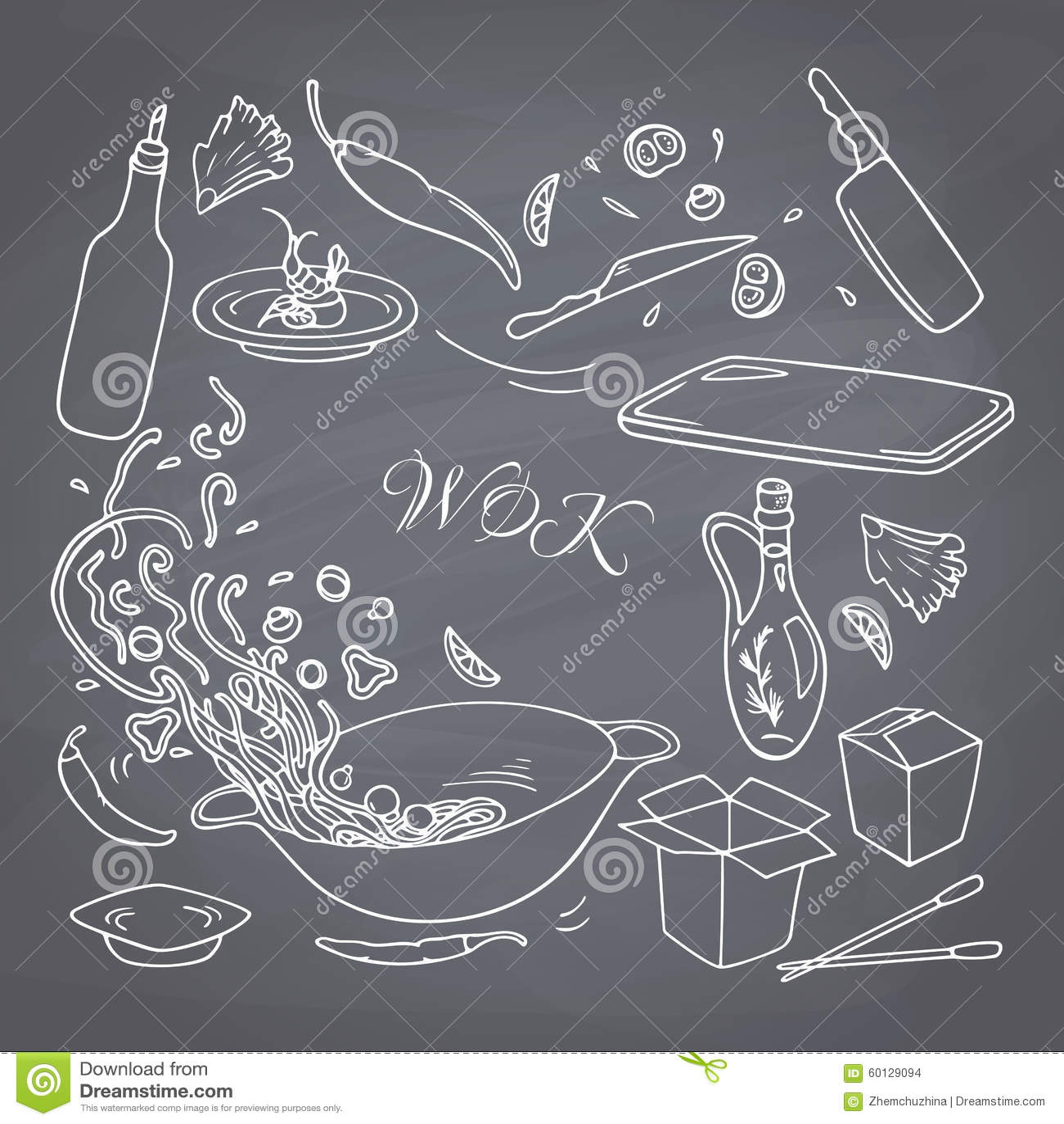 Ensemble d éléments tirés par la main de restaurant de wok d ensemble pour votre conception Nourriture d Asiatique de griffonnage